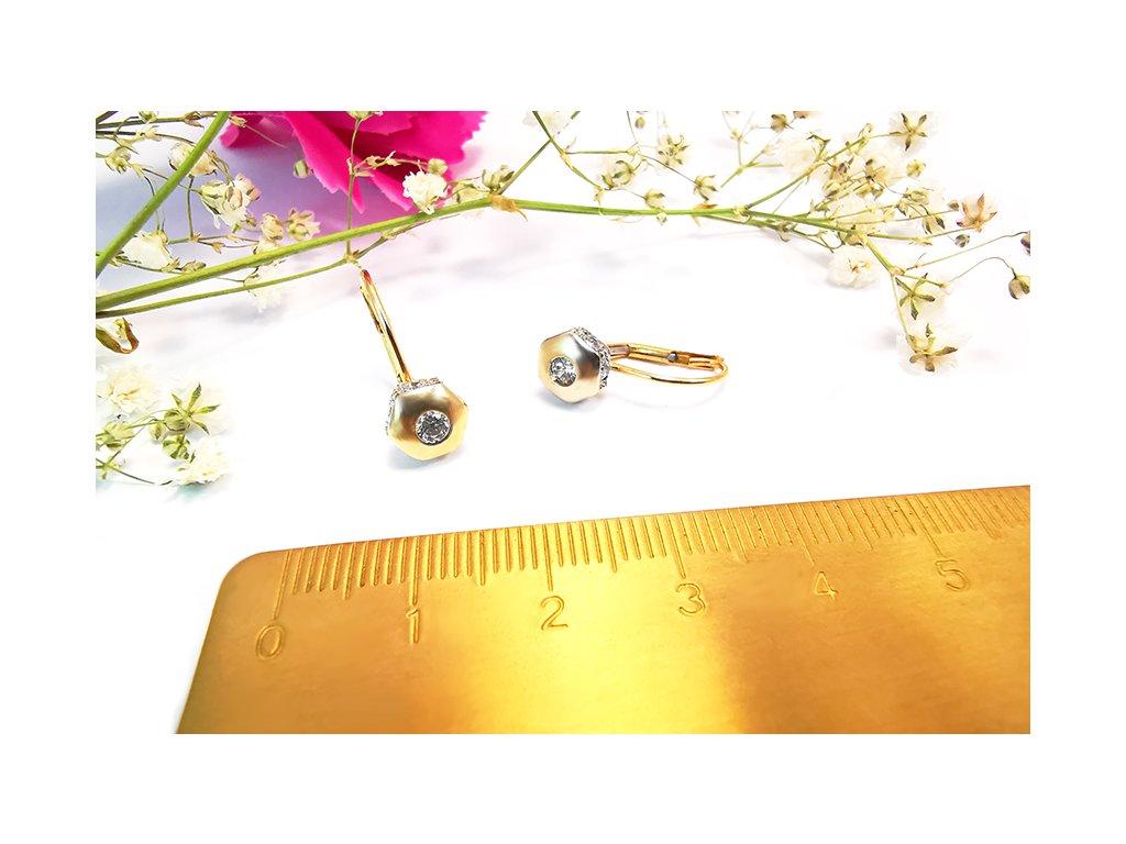 Náušnice zo žltého zlata  + servis a krabička, darček