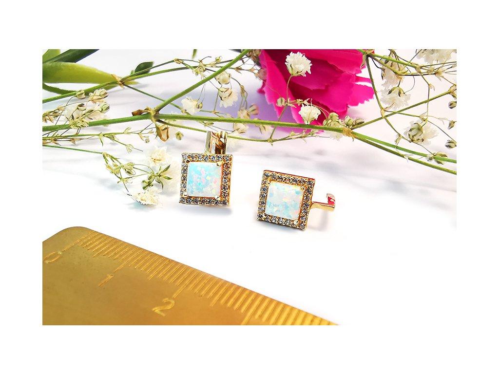 Náušnice s opálom zo žltého zlata  + krabička a darček