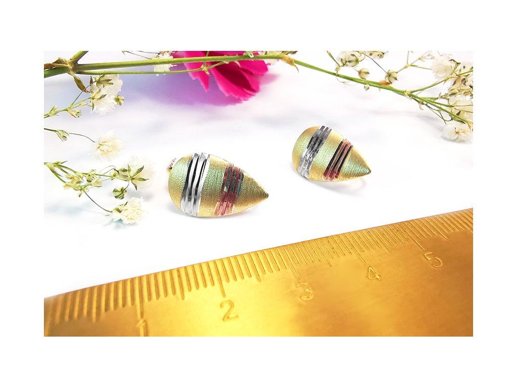 Trojfarebné zlaté náušnice kvapky  + krabička a darček