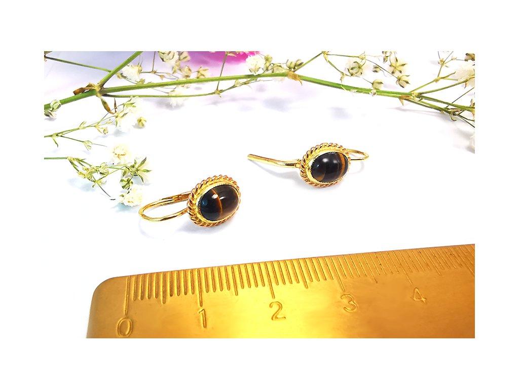 Nádherné náušnice s tigrým okom  + krabička a darček