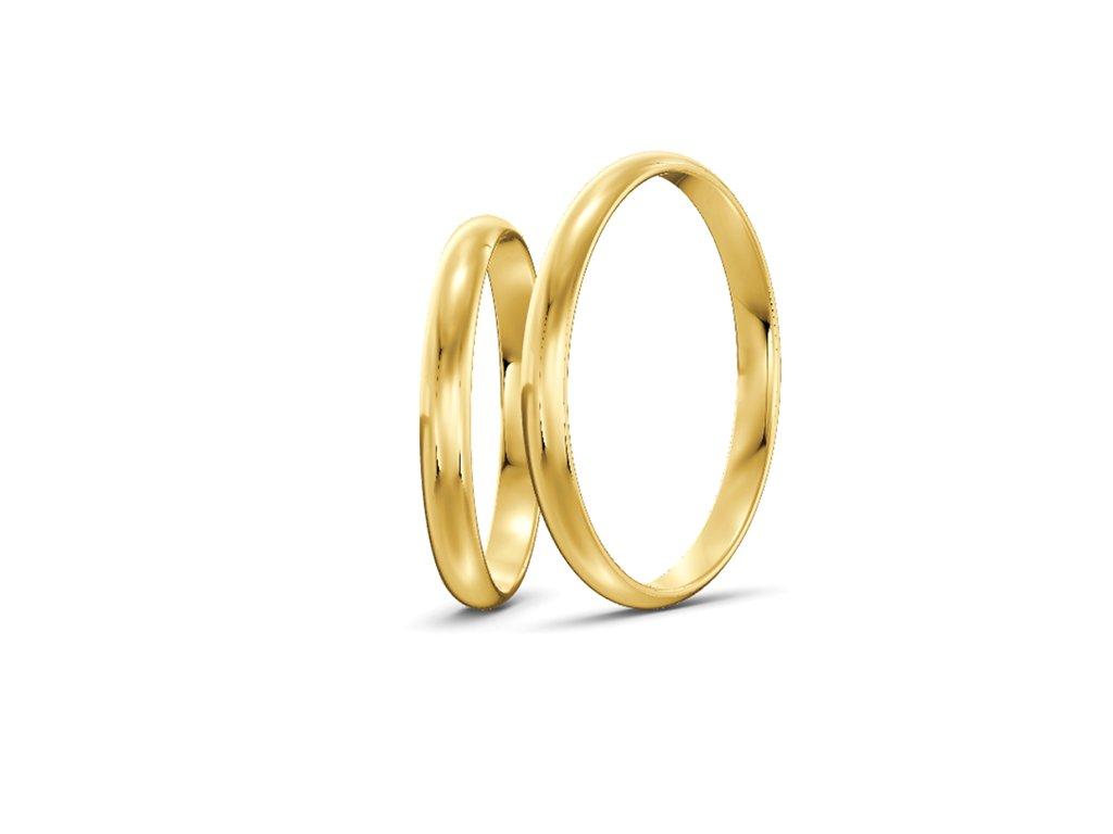 Svadobné obrúčky šírka 2,50mm zo žltého zlata