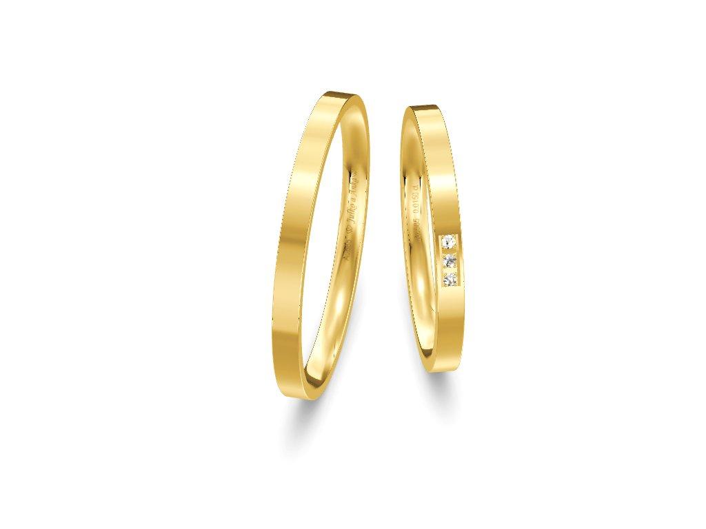 Svadobné obrúčky ploché 2mm zo žltého zlata
