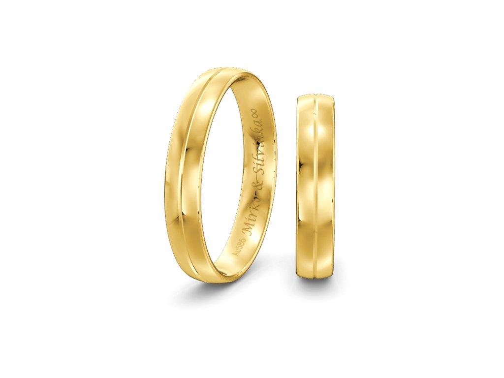 Svadobné obrúčky 4,00mm zo žltého zlata so stredovou čiarou