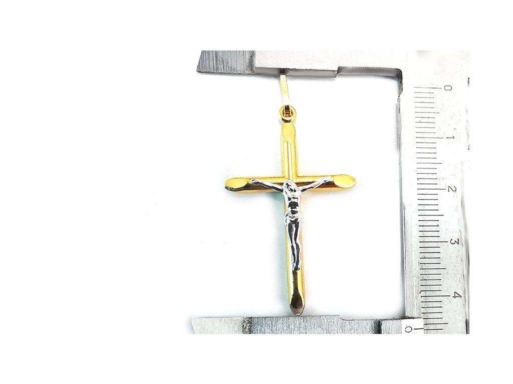 Prívesok krížik s Ježišom, bielo-žltý  + krabička a darček