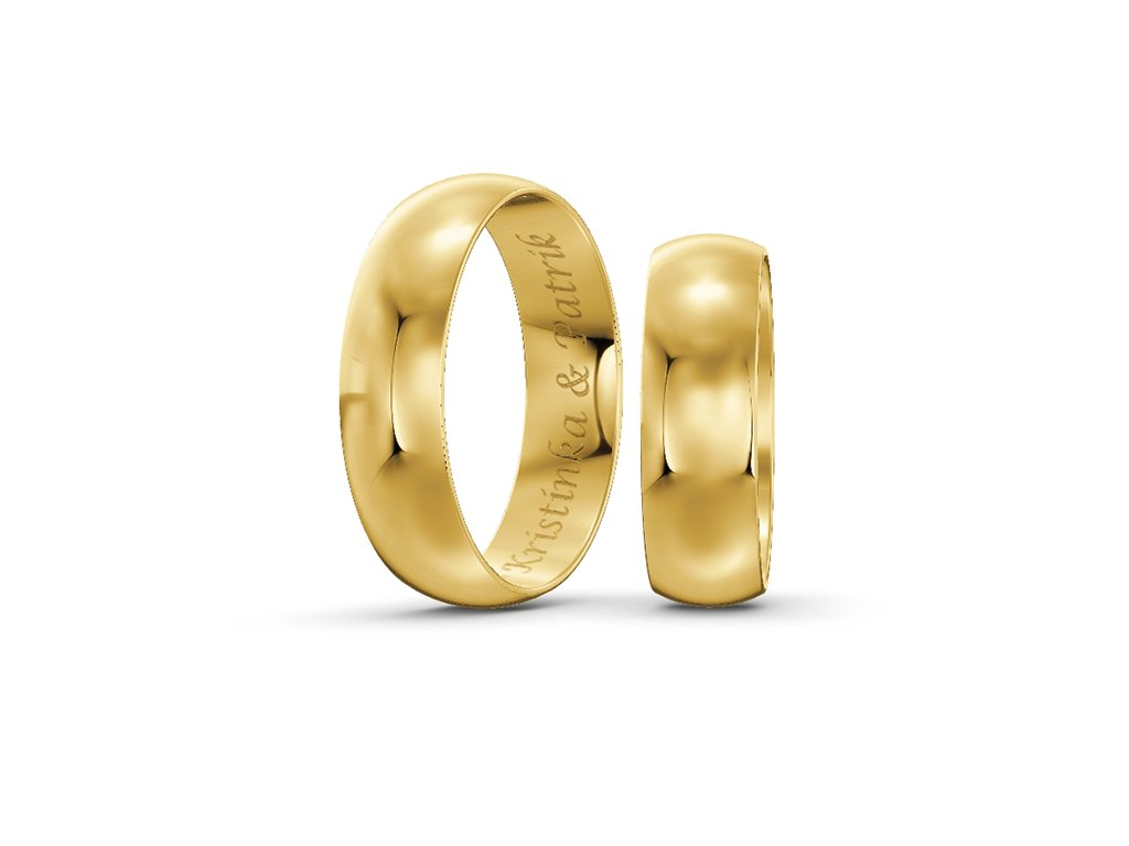 Svadobné obrúčky šírka 6mm zo žltého zlata