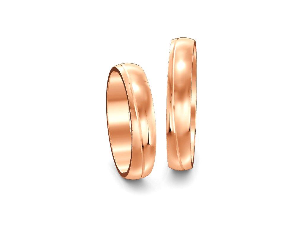 Svadobné obrúčky 4,00mm z ružového zlata s vlnovkou