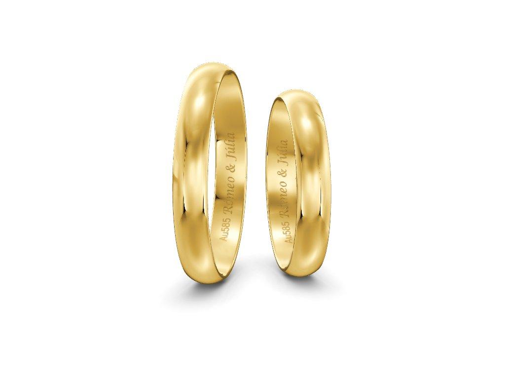 Svadobné obrúčky šírka 3,50mm zo žltého zlata