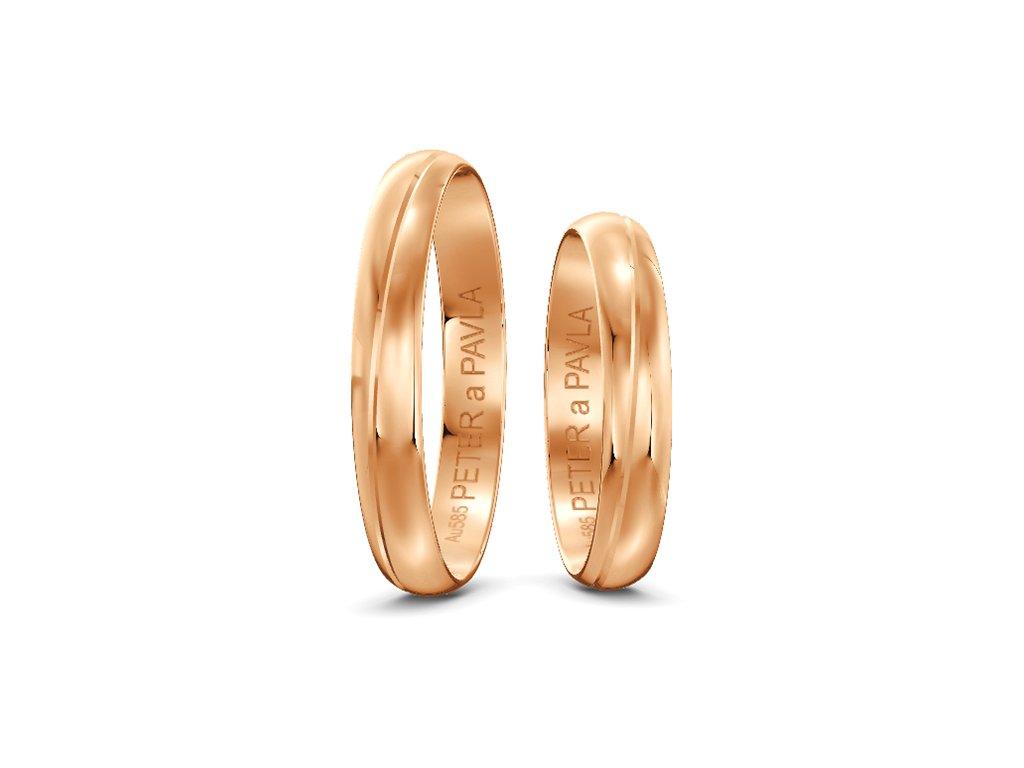 Svadobné obrúčky 3,50mm z ružového zlata s vlnovkou
