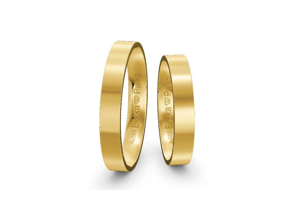Svadobné obrúčky ploché 3,50mm zo žltého zlata