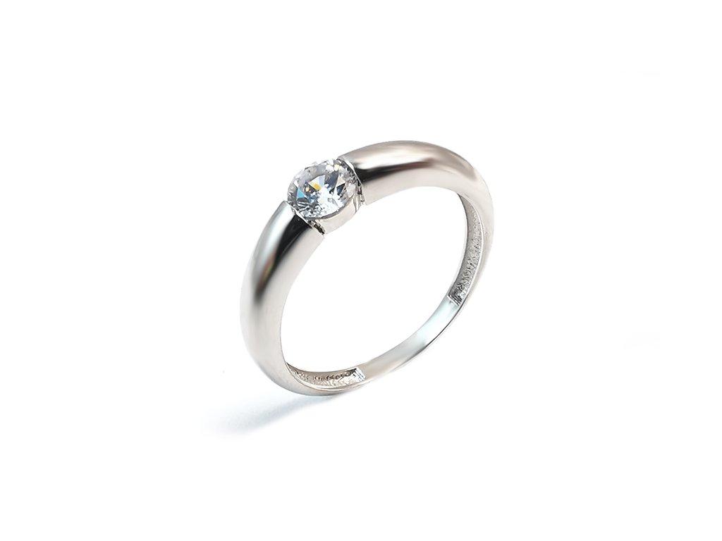 Zásnubný prsteň so zirkónom z bieleho zlata
