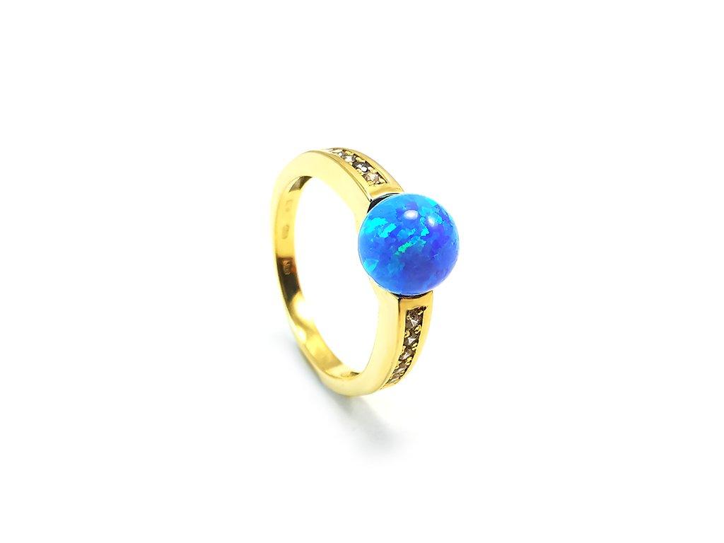 Prsteň VZOR 287 zo žltého zlata s opálom