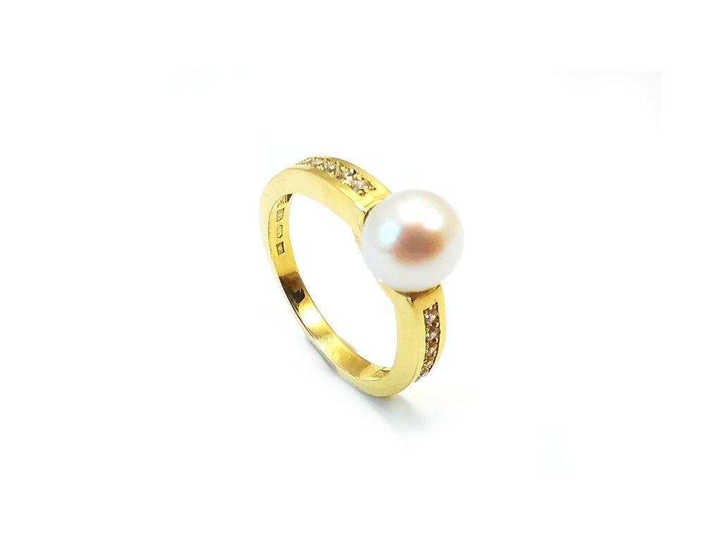 Prsteň VZOR 287 zo žltého zlata so sladkovodnou perlou