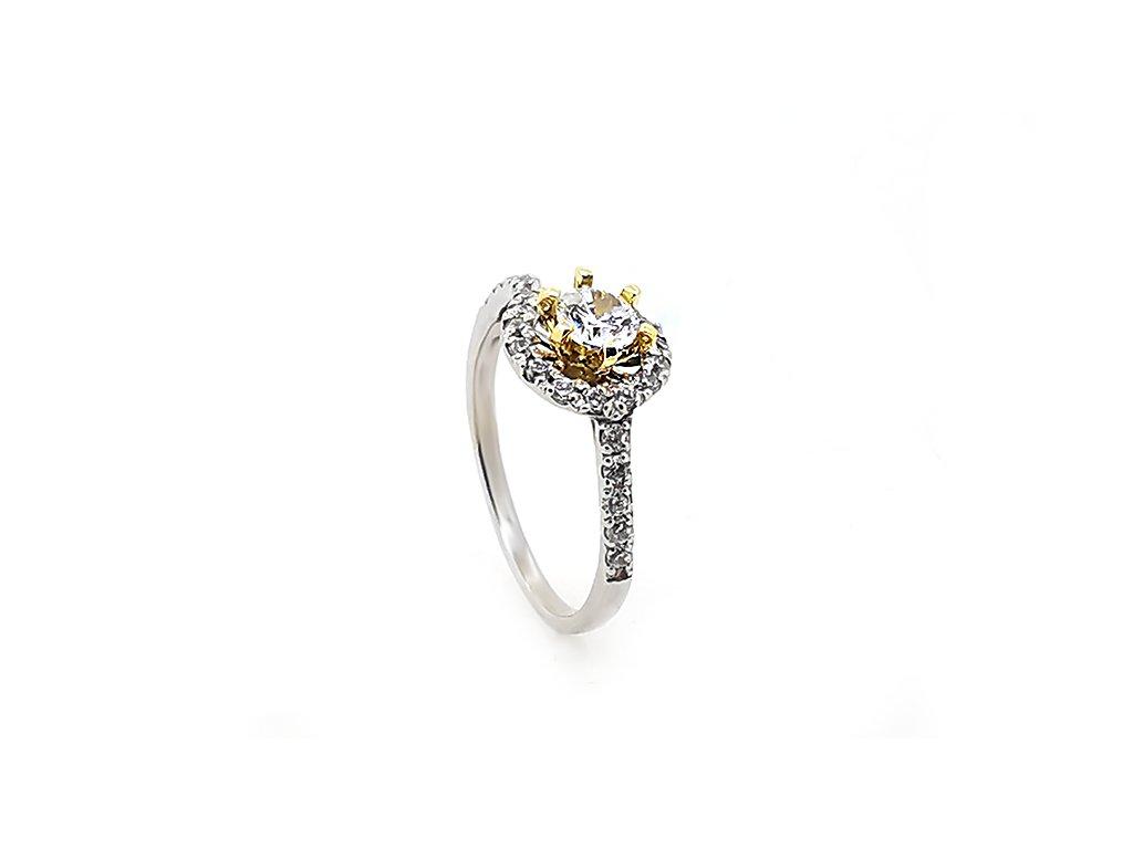 Zásnubný prsteň VZOR 273 z kombinovaného bielo-žltého zlata