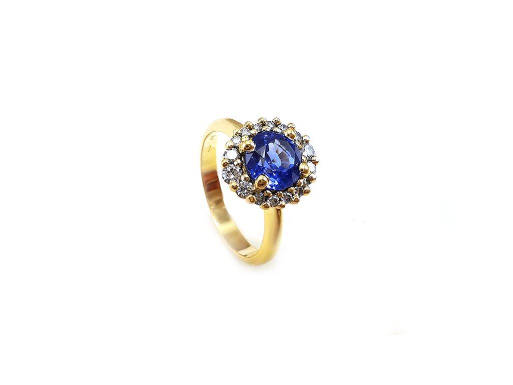 Výnimočný prsteň zo žltého zlata so zafírom a briliantmi