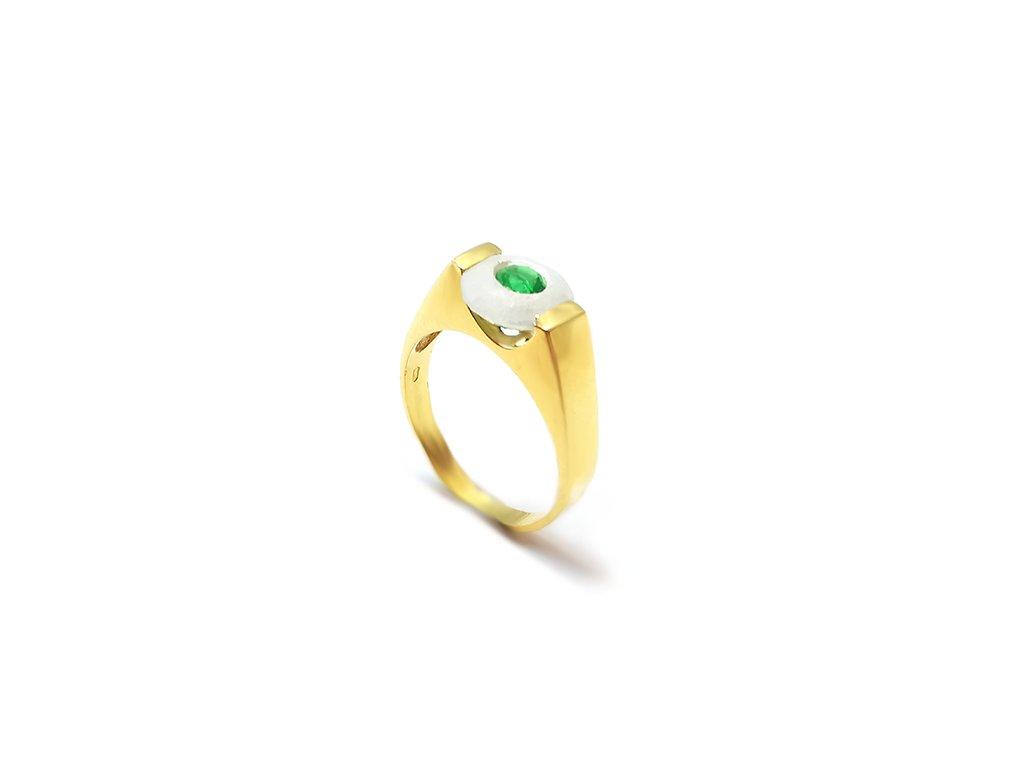 Nádherný prsteň VZOR 108 zo žltého zlata s dvojkameňom