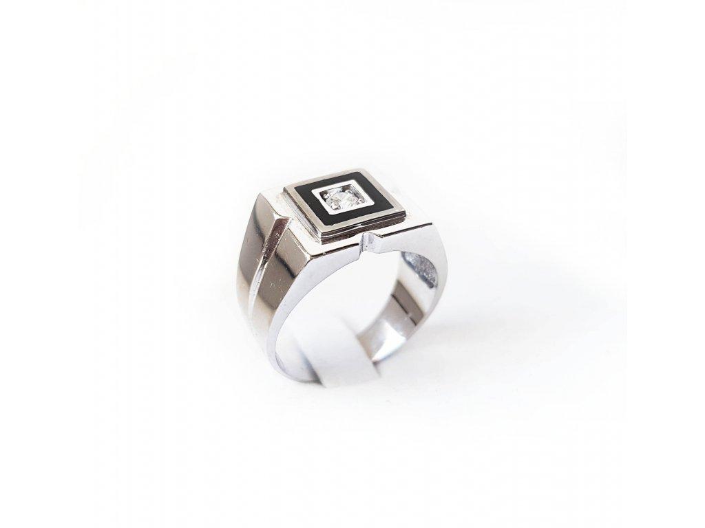 Pánsky prsteň z bieleho zlata