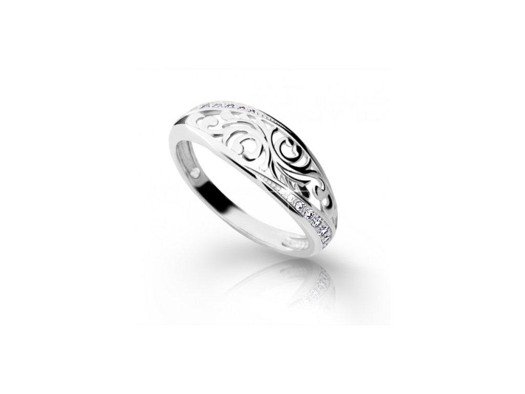 Brilinatový prsteň Danfil 2133 biele zlato
