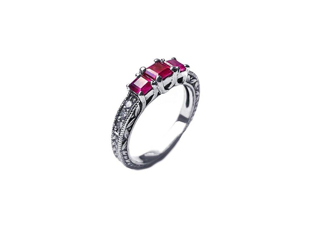 Brilinatový prsteň s pravými rubínmi biele zlato