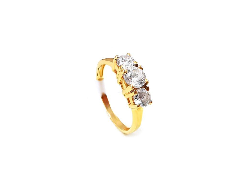 Dámsky prsteň psteň VZ274 zo žltého zlata s tromi zirkónmi  +servis + krabička, darček