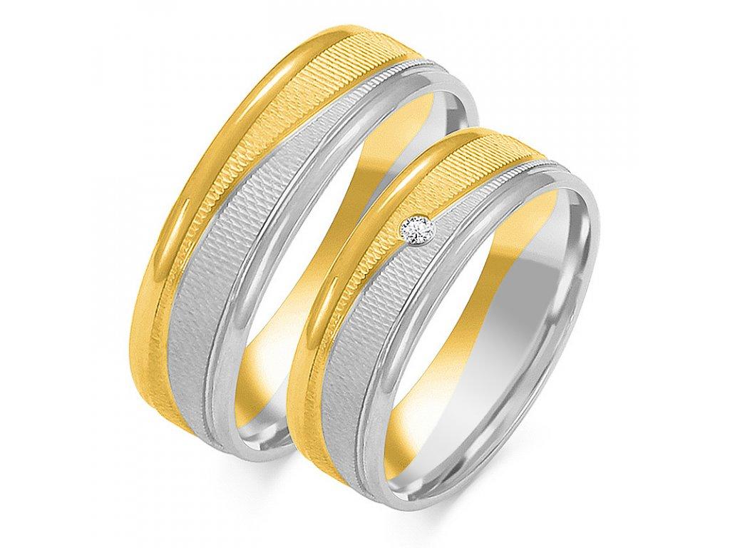 Svadobné obrúčky model OE-189 kombinovné žlto-biele zlato