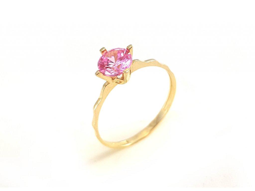 Zlatý prsteň ZÁSNUBY s ružovým zirkónom  +doživotný servis + krabička