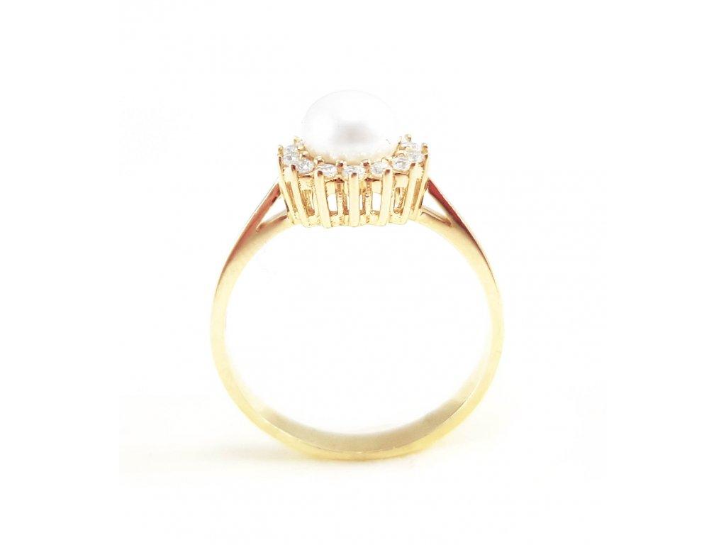 Nádherný dámsky prsteň zo žltého zlata so zirkónmi a perlou  + krabička