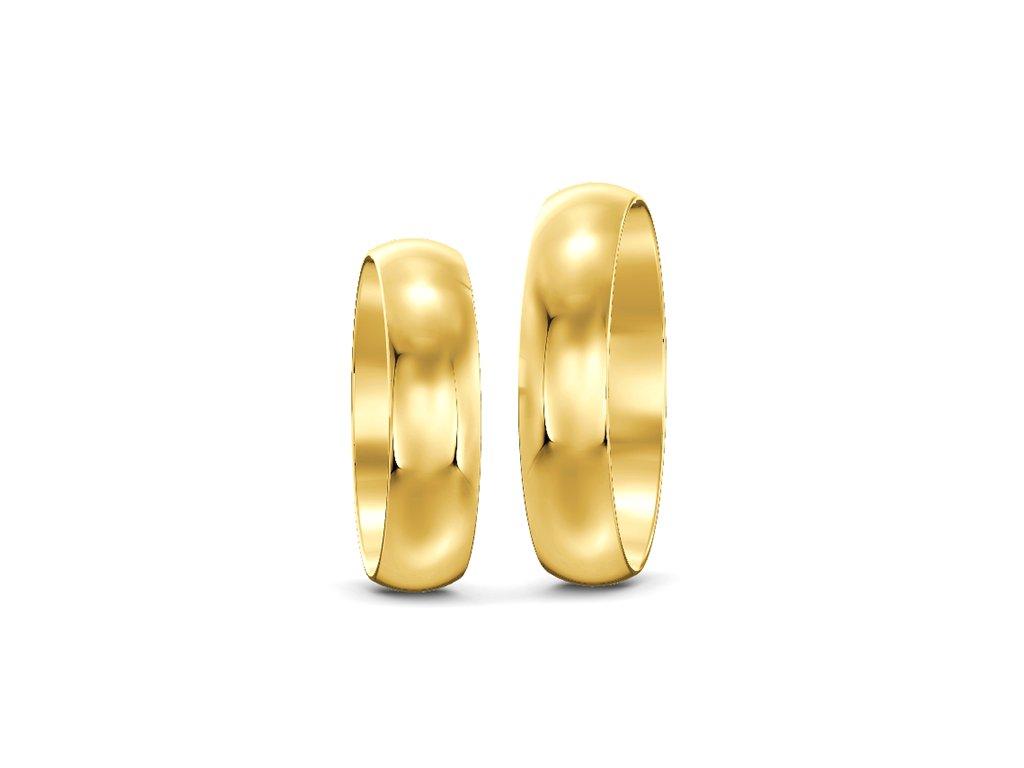 Svadobné obrúčky šírka 5mm zo žltého zlata