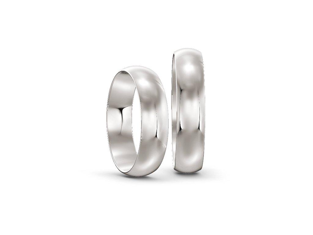 Svadobné obrúčky šírka 5mm z bieleho zlata