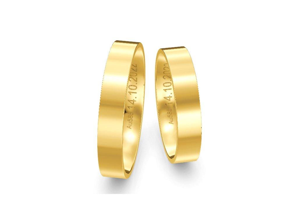 Svadobné obrúčky ploché 4,00mm zo žltého zlata