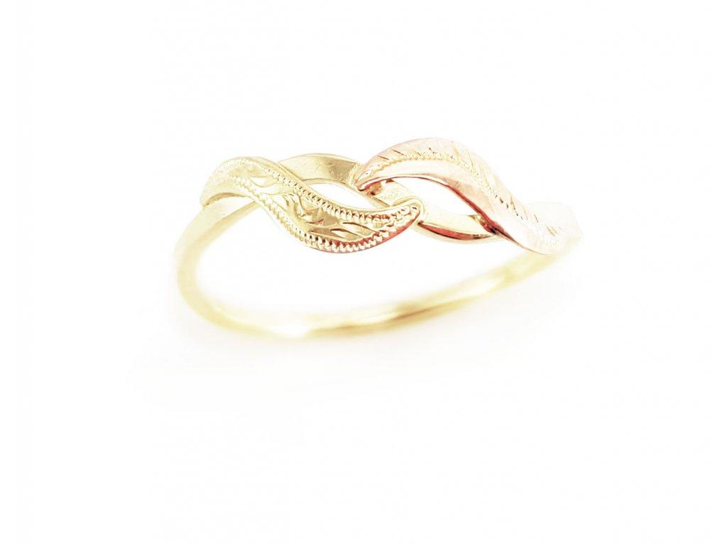 Zlatý prsteň VZOR 2 ružovo-žltý  +doživotný servis + krabička
