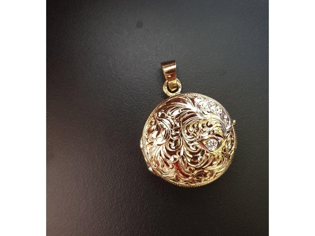 Medailón zo žltého zlata s briliantom  + doživotný servis #krabička