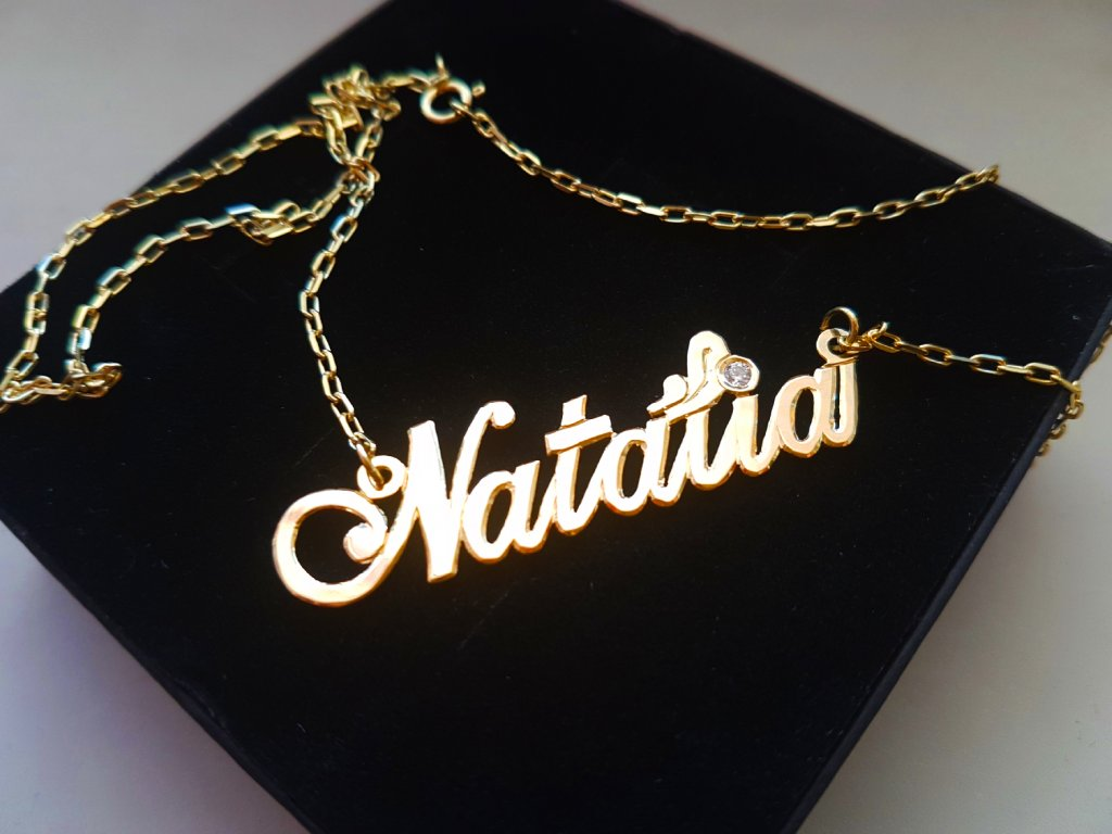 3fe5e0ee6 Retiazka s menom Natália zo žltého zlata + doživotný servis # GIFTS #  krabička