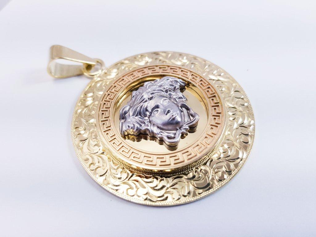 Prívesok z kombinovaného žlto-bieleho zlata s hlavou medúzy veľká