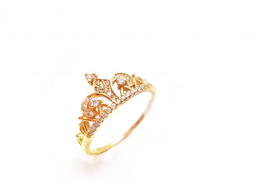 Zlatý prsteň VZOR KORUNKA žltý  +doživotný servis + krabička