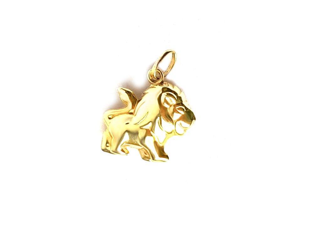 """Zlatý prívesok """"lev"""" žltý  +doživotný servis + krabička"""