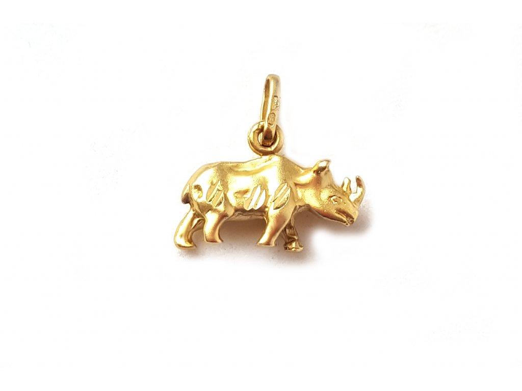"""Zlatý prívesok """"nosorožec"""" žltý  +doživotný servis + krabička"""