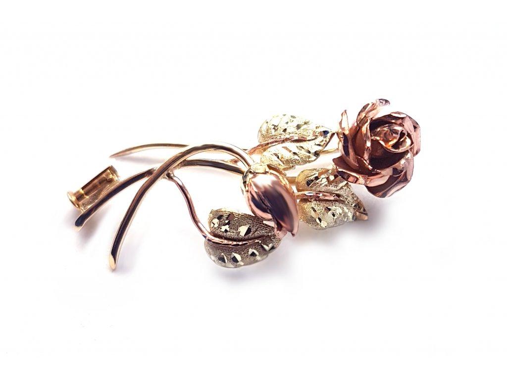 Nádherná brošňa v tvare kvetiny zo zlata  +doživotný servis + krabička