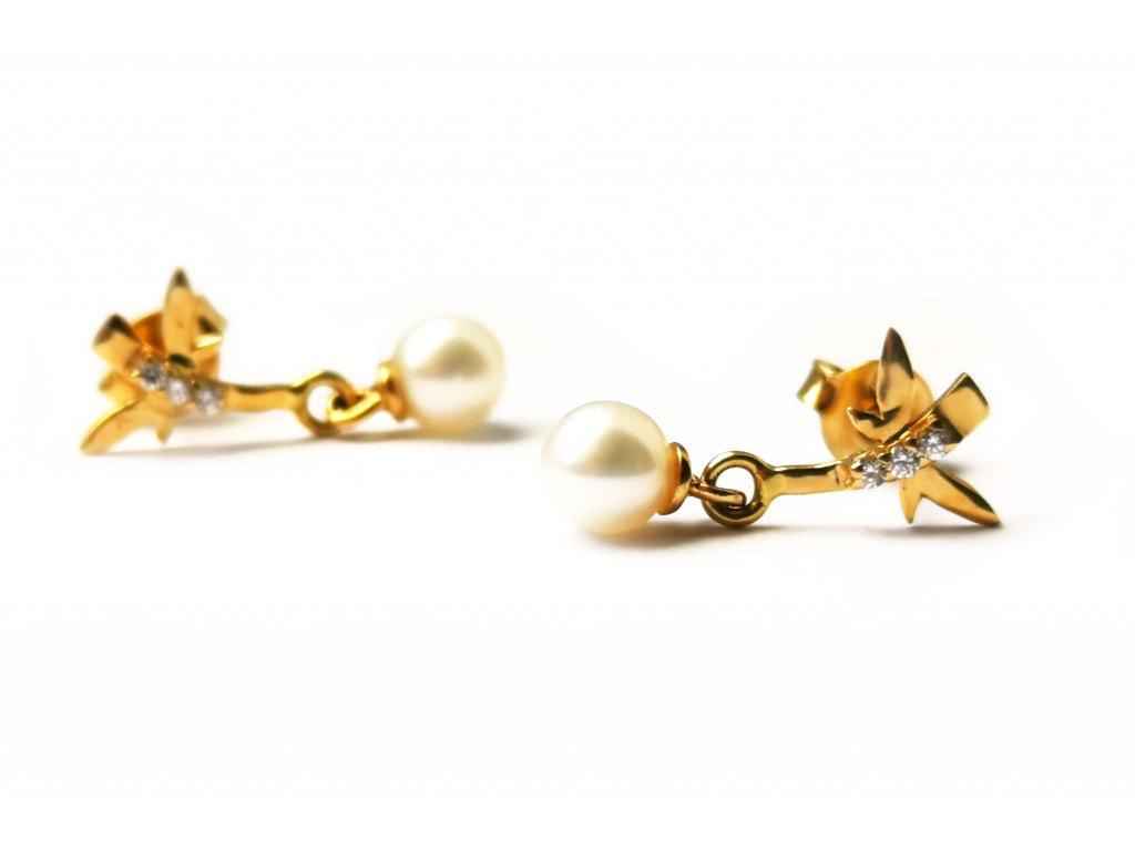 Zlaté dámske náušnice s perličkou a zirkónmi zo žltého zlata  +servis + krabička