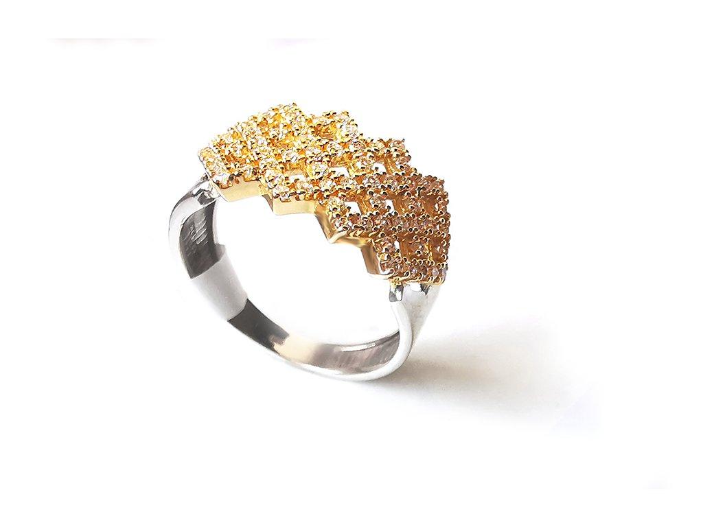 Zlatý prsteň VZOR 233 žlto-biely  +servis + krabička