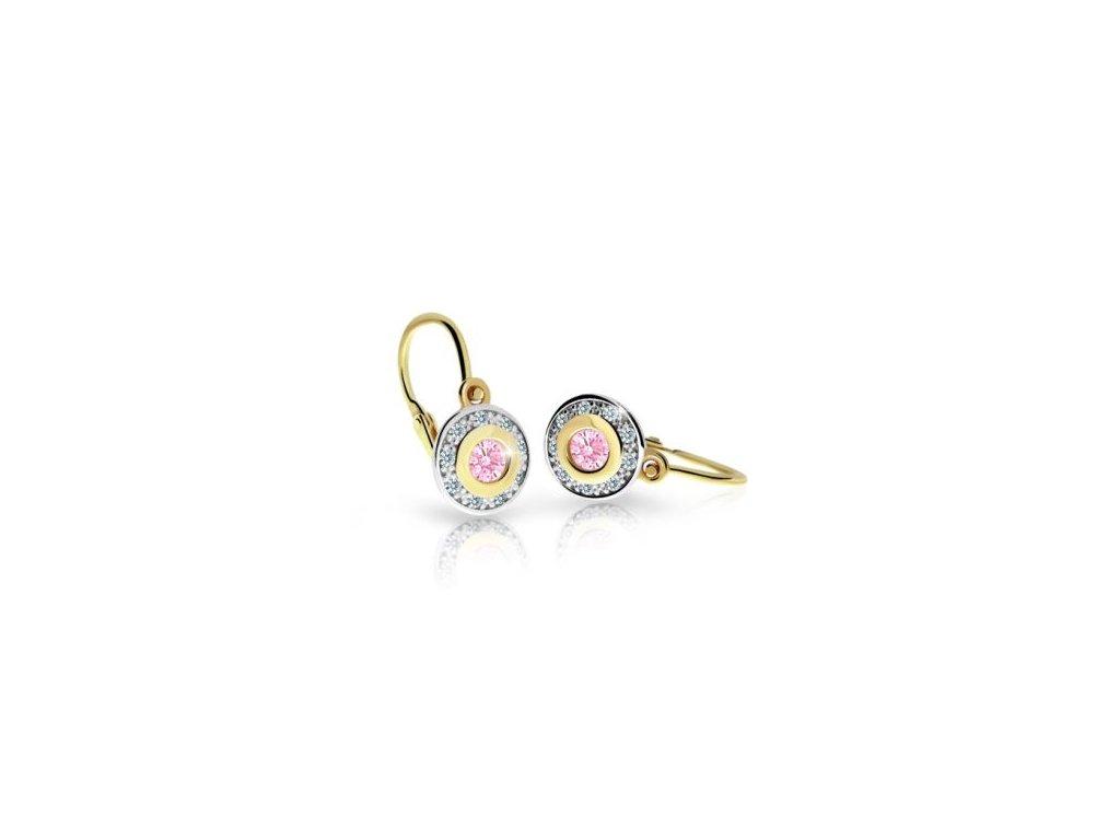 detske nausnicky cutie c2400 zo zlteho zlata s kamienkom pink 17162