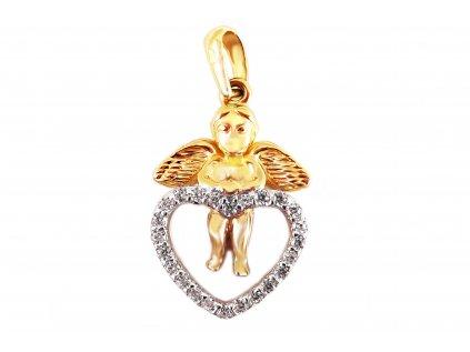 Prívesok anjelik so srdiečkom zo žltého zlata  +servis + krabička, darček