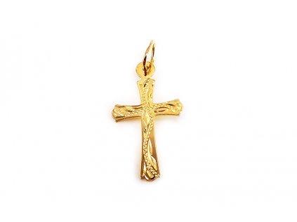 Prívesok krížik s ručným gravírom zo žltého zlata  +servis + krabička