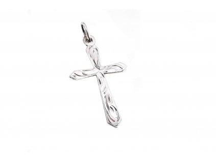 Prívesok krížik s ručným gravírom z bieleho zlata
