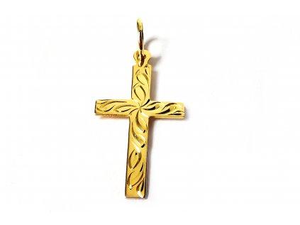 Väčší prívesok krížik s ručným gravírom zo žltého zlata  +servis + krabička