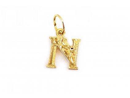 """Prívesok v tvare """"písmena N"""" zo žltého zlata  +servis + krabička"""