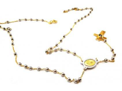 Zlatý náhrdelník RUŽENEC žlto-biely  +servis + krabička