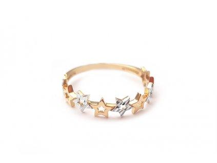 Zlatý prsteň HVIEZDIČKY žlto-biely  +servis + krabička