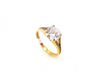 Krásny dámsky zásnubný prsteň so zirkónom zo žltého zlata  +servis + krabička