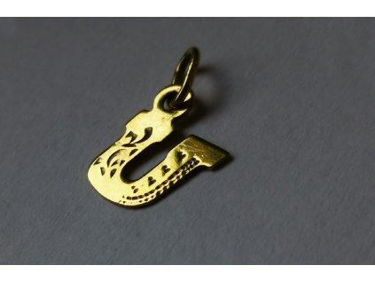 """Prívesok v tvare písmena """"U"""" zo žltého zlata  +servis + krabička"""