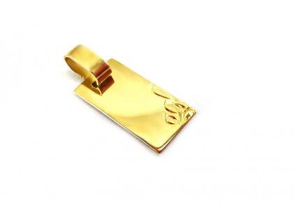 """Krásny prívesok """"platnička"""" zo žltého zlata - vhodný na gravírovanie"""